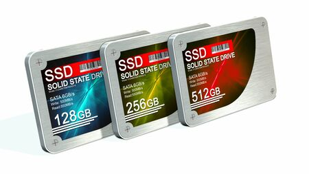 ssd: SSD drive - State solid drives isolated on white background