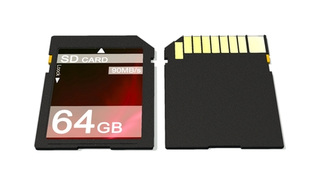 gigabyte: 64 GB SD card isolated on white background