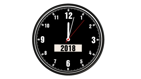 watch new year: clock with the new year 2018 isolated on white Stock Photo