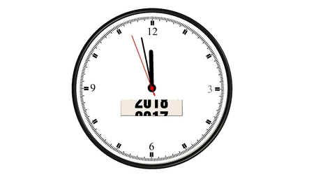 watch new year: clock year change from 2017 to 2018 isolated on white Stock Photo