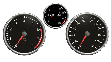 instrument panel: Tachometer, speedometer, fuel and temperature. Round gauges in chrome frames isolated on white background