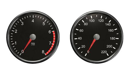 instrument panel: Tachometer and speedometer. Round gauges in chrome frames isolated on white background