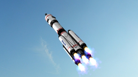 space station: Space rocket - carrier rocket launches off Stock Photo