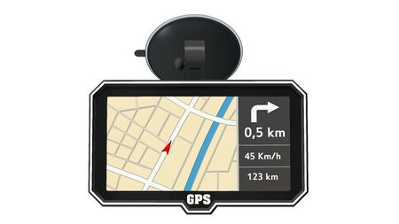 GPS navigation device isolated on white