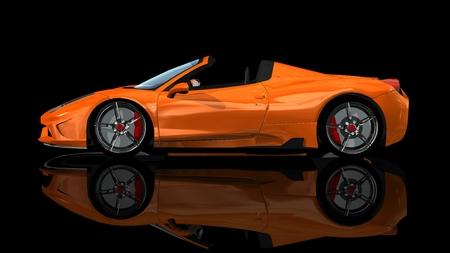 modern orange sports car - isolated on black reflective background Stock Photo