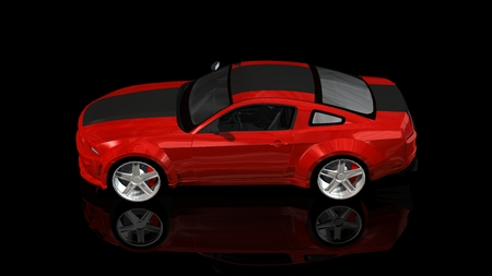 modern red sports car - isolated on black reflective background