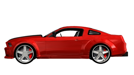 modern red sports car - isolated on white