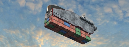 Flying cargo ship with freight container in the sky - futuristic flying cargo concept