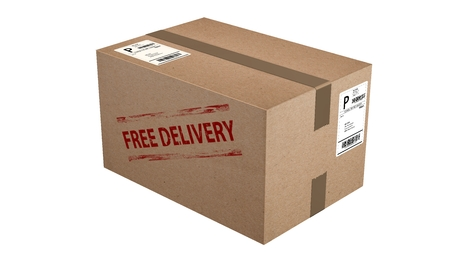 free delivery cardboard box isolated on white