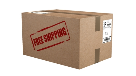 free shipping cardboard box isolated on white Standard-Bild