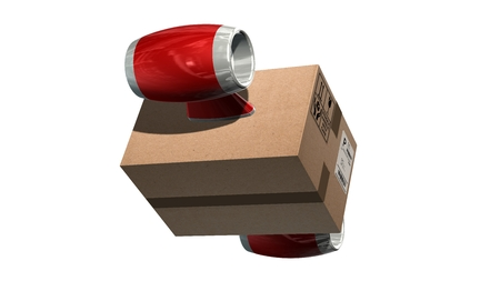 Fast cargo delivery concept - shipping cardboard box with airplane turbines isolated on white