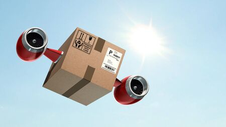 Fast cargo delivery concept - shipping cardboard box with airplane turbines Standard-Bild