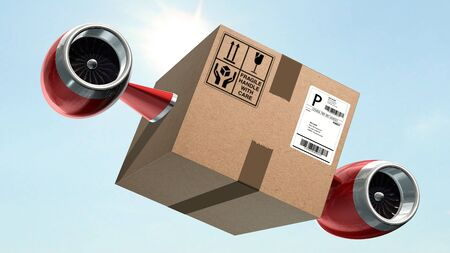 Fast cargo delivery concept - shipping cardboard box with airplane turbines Banco de Imagens