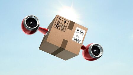 Fast cargo delivery concept - shipping cardboard box with airplane turbines Stock Photo