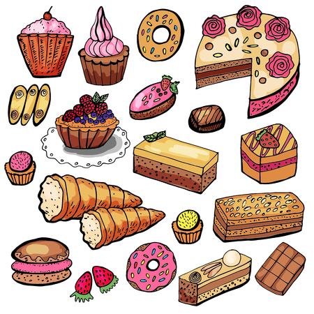 Set aus verschiedenen Backwaren, Gebäck und Süßigkeiten.