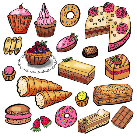 Set of various pastries, pastries and sweets. Vectores