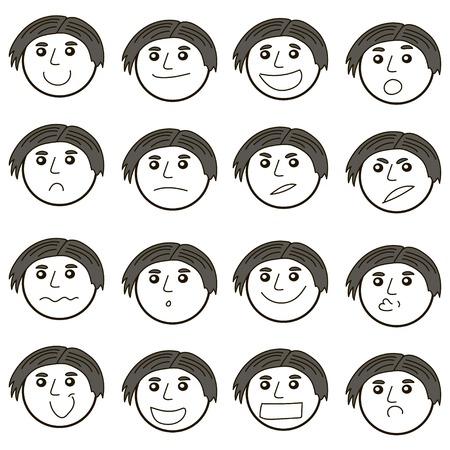 Ensemble de visages vectoriels sympas, différentes émotions. Vecteur de visage cool mignon de style linéaire, différentes émotions. Caractère de gars