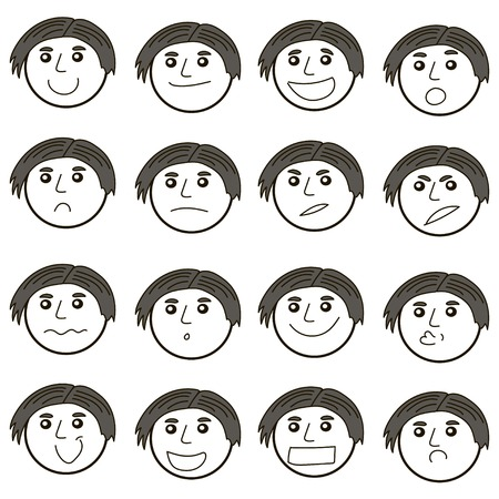 Set of cool vector faces, different emotions. Linear style cute cool face vector, different emotions. Guy character