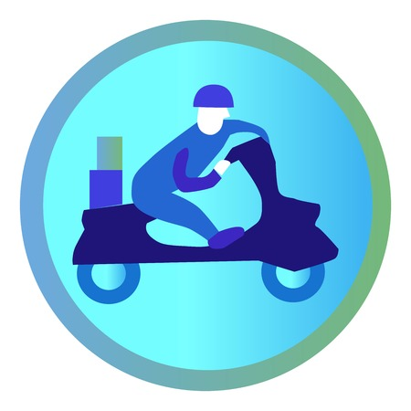 scooter with courier, delivery symbol. Vector illustration.