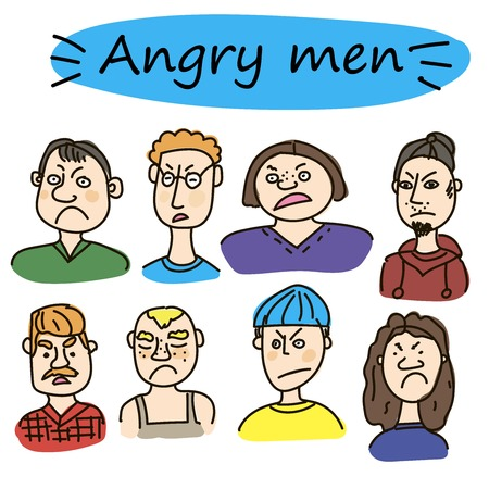 Faces of young people, evil face expression, cartoon vector illustration isolated on white background. Handsome boy frowning, feeling sad, upset, sullen, upset. Angry face expression