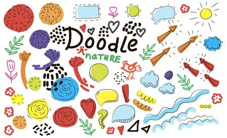Collection of hand drawn think and talk speech bubbles with love message, greetings and sale ad. Doodle style comic balloon, cloud, heart shaped design elements. Isolated vector. Illustration