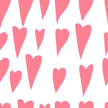 Pink heart seamless pattern. Background by February 14th.