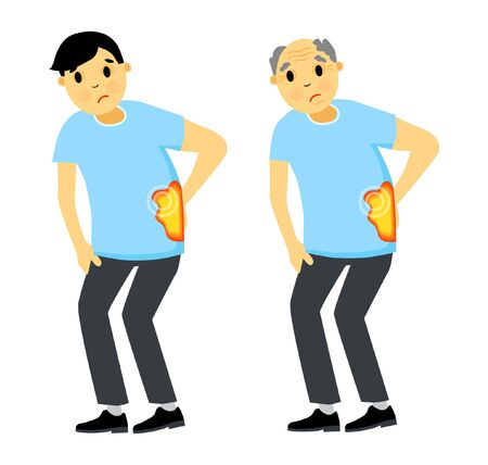 Set man and grandfather with back pain. Chondrosis. Backache. Vector illustration in cartoon style.