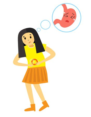 The girl was bent from abdominal pain. Gastritis pain attack. Stomach disease. Vector illustration in cartoon style.