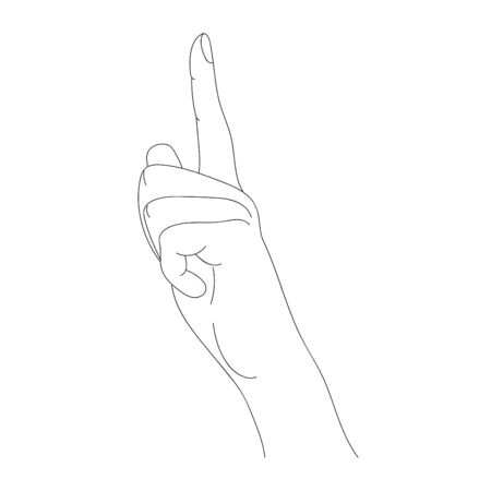 Vector linear drawing gesture of a female hand raised thumbs up.