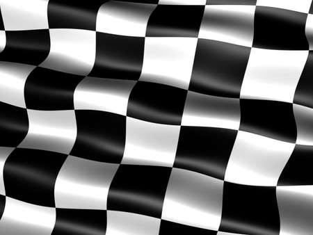 cuadros blanco y negro: Generados por computadora ajedrezado de fin de carrera con bandera apariencia sedosa y ondas