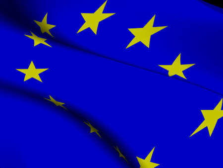 Close-up of the flag of the European Union in waving motion photo