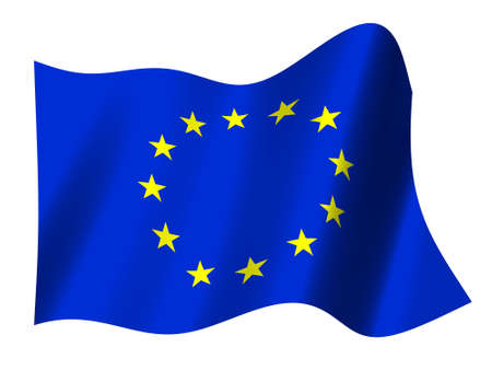 Flag of the European Union with waving motionBelgium,France, Germany, Italy, Luxembourg, Netherlands, Denmark, Ireland, United Kingdom, Greece, Portugal,  Spain, Austria, Finland, Sweden, Cyprus, Czech Republic, Estonia, Hungary, Latvia, Lithuania, Malta, photo