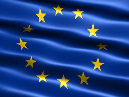 bandera de suecia: Bandera de la Uni�n Europea con apariencia sedosa y ondas