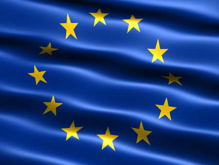 drapeau portugal: Drapeau de lunion europ�enne avec laspect soyeux et les vagues Banque d'images