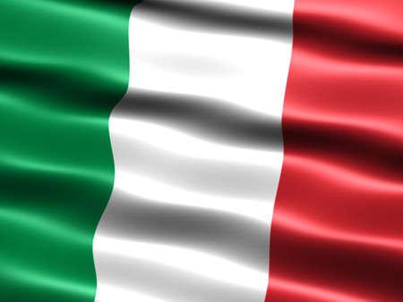실크 모양과 파도와 이탈리아의 국기