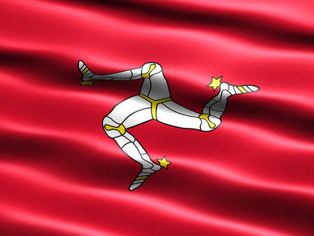 isle: Flag of the Isle of Man with silky appearance and waves Stock Photo
