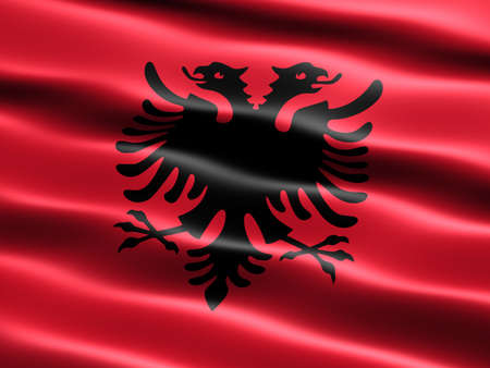 Flag of Albania with silky appearance and waves (computer generated illustration)