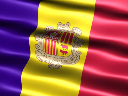 Computer generated illustration of the flag of Andorra with silky appearance and waves Reklamní fotografie