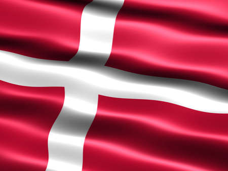 Computer generated illustration of the flag of Denmark with silky appearance and waves