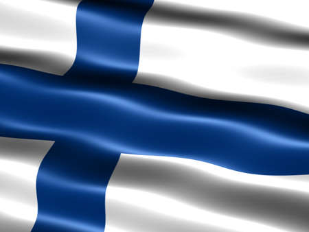 suomi: Computer generated illustration of the flag of Finland with silky appearance and waves Stock Photo