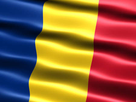 trade union: Computer generated illustration of the flag of Romania with silky appearance and waves