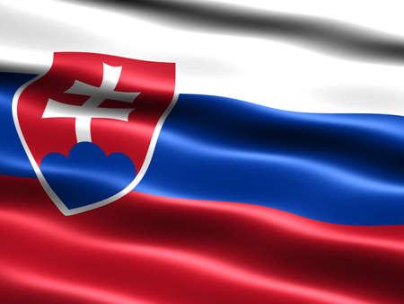 la union hace la fuerza: Generados por computadora ilustraci�n de la bandera de Eslovaquia, con apariencia sedosa y ondas