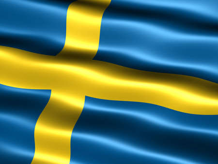 ethnical: Computer generated illustration of the flag of Sweden with silky appearance and waves Stock Photo