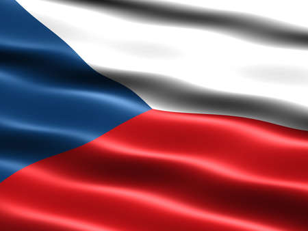 Computer generated illustration of the flag of the Czech Republic with silky appearance and waves