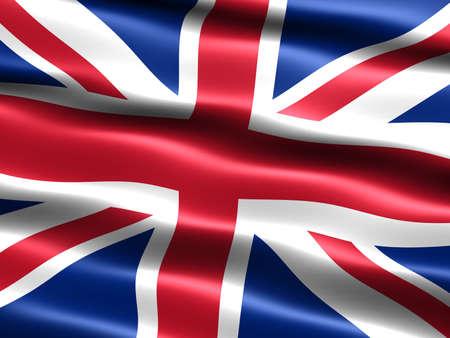 la union hace la fuerza: Generados por computadora ilustraci�n de la bandera del Reino Unido con apariencia sedosa y ondas