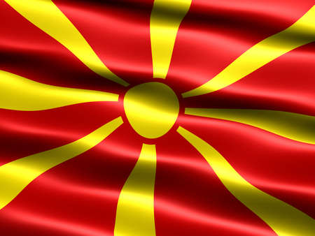 macedonia: Computer generated illustration of the flag of the Republic of Macedonia with silky appearance and waves