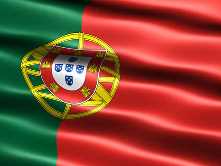 appearance: Computer generated illustration of the flag of Portugal with silky appearance and waves Stock Photo