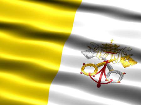 la union hace la fuerza: Ilustraci�n generada computadora de la bandera de la ciudad de Vatican con aspecto sedoso y las ondas