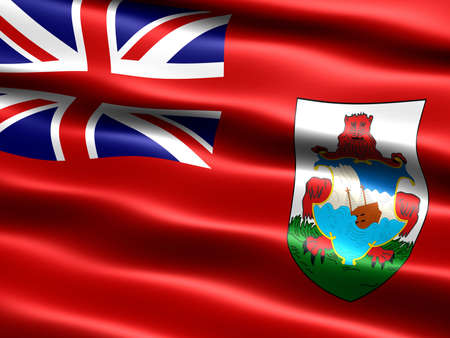 la union hace la fuerza: Generado por ordenador ilustraci�n de la bandera de las Bermudas con apariencia sedosa y ondas
