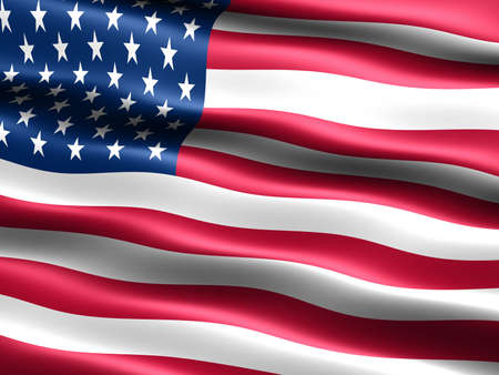 appearance: Computer generated illustration of the flag of the U.S.A. with silky appearance and waves